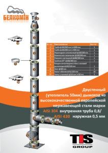 Комплект утепленного дымохода PRO PLUS D160/260 мм (5 метров) AISI 304-0,8 мм / 430-0,5 мм с монтажной площадкой - купить в Москве по цене производителя