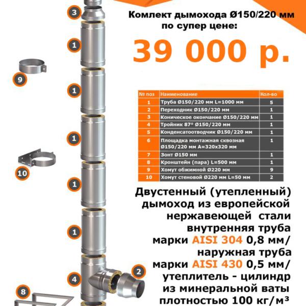 Комплект дымохода Ø150/220 двустенный, утепленный, мин.вата плотностью 100кг/м3 подвесной - купить в Москве по цене производителя