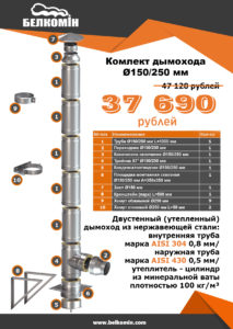 Комплект утепленного дымохода PRO PLUS D150/250mm (5 МЕТРОВ) AISI 304-0,8мм / 430-0,5мм подвесной - купить в Москве по цене производителя