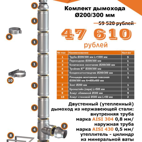Комплект утепленного дымохода PRO PLUS D200/300mm (5 МЕТРОВ) AISI 304-0,8мм / 430-0,5мм подвесной - купить в Москве по цене производителя